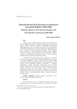 Osmanlı Devleti ile Ermenistan Cumhuriyeti Arasındaki İlişkiler