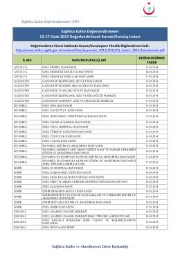 13 - 17 Ocak 2014 Sağlıkta Kalite Değerlendirmesi Yapılacak Kurum