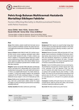 Pelvis Kırığı Bulunan Multitravmalı Hastalarda