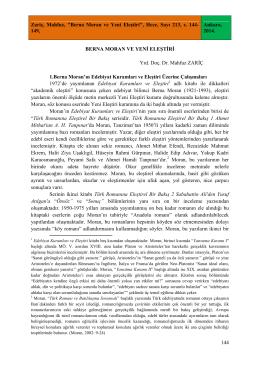 Mahfuz Zariç-Berna Moran ve Yeni Eleştiri