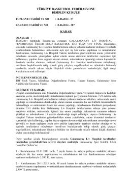 TÜRKİYE BASKETBOL FEDERASYONU DİSİPLİN KURULU KARAR