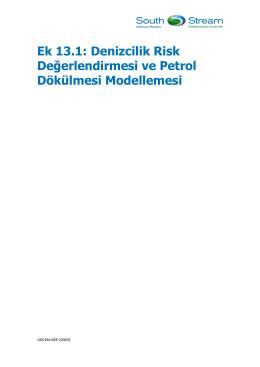 Ek 13.1: Denizcilik Risk Değerlendirmesi ve Petrol Dökülmesi