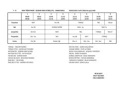 7-B Sınıfı Ders Programı