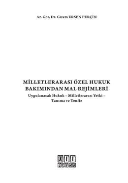 MİLLETLERARASI ÖZEL HUKUK BAKIMINDAN MAL REJİMLERİ
