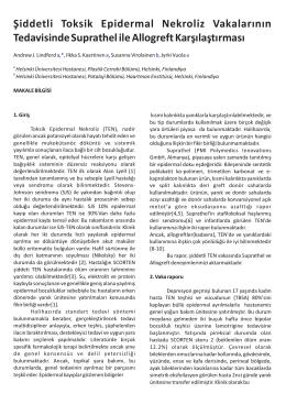 Şiddetli Toksik Epidermal Nekroliz Vakalarının