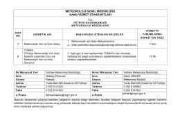 Fethiye Meteoroloji Müdürlüğü Kamu Hizmet Standartları Tablosu