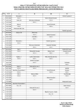 2014-2015 Güz Yarıyılı Ders Programı(Yeni Müfredat)