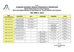 301-MRE 1. Sınıf - Ataşehir Adıgüzel Meslek Yüksekokulu