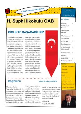 Hamdullah Suphi İlkokulu OAB Bülteni Sayı 1