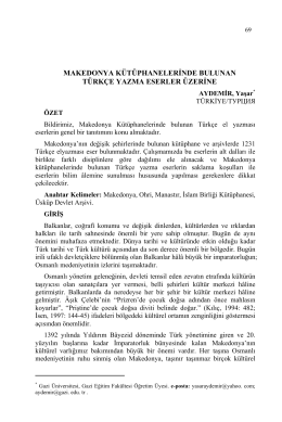 makedonya kütüphanelerinde bulunan türkçe yazma eserler