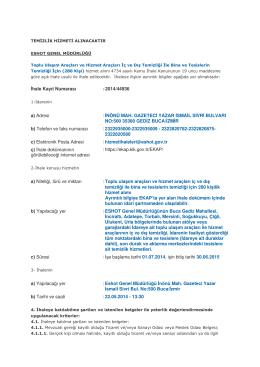 İhale Kayıt Numarası :2014/44936 a) Adresi : İNÖNÜ MAH