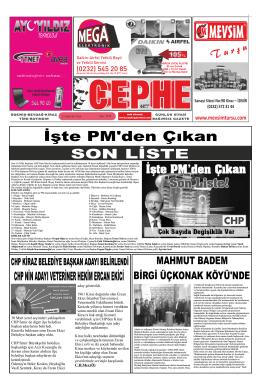 11.02.2014 Tarihli Cephe Gazetesi