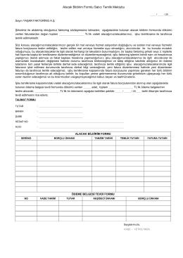 Alacak Bildirim Formlu Satıcı Temlik Mektubu