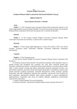 Girişimsel Olmayan Klinik Araştırmalar Etik Kurulu Hakkında Yönerge