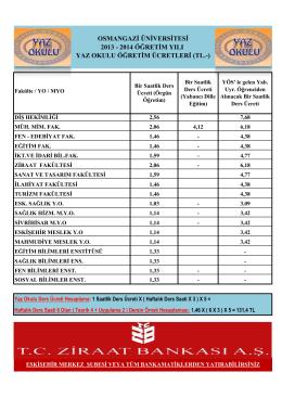 2014 öğretim yılı yaz okulu öğretim ücretleri