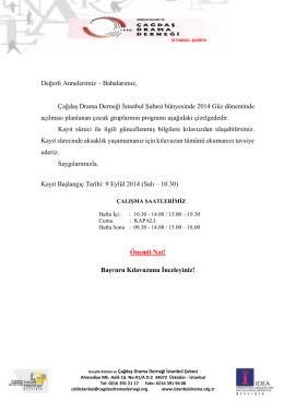 Değerli Annelerimiz – Babalarımız, Çağdaş Drama Derneği İstanbul