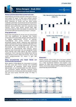Bütçe Dengesi – Ocak 2014