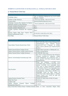 18.07.2014 21:48:01 Finansal Duran Varlık Satışı Ortaklığın Adre