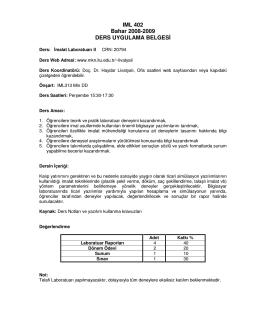 IML 402 Bahar 2008-2009 DERS UYGULAMA BELGESİ