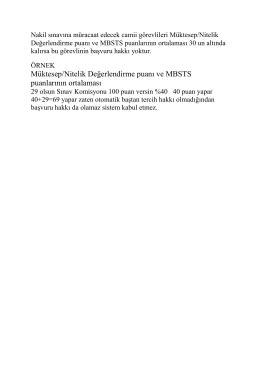 Müktesep/Nitelik Değerlendirme puanı ve MBSTS puanlarının