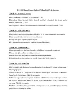 2014-2015 Bahar Dönemi Endüstri Mühendisliği Proje Konuları [1