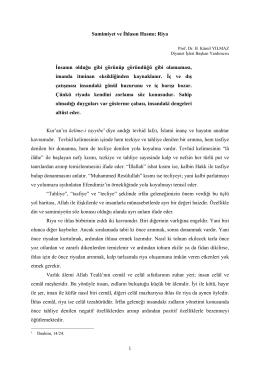 Prof. Dr. H. Kâmil Yılmaz - Samimiyet ve İhlasın Hasmı