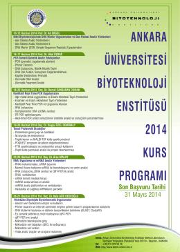 ankara üniversitesi biyoteknoloji enstitüsü 2014 kurs programı