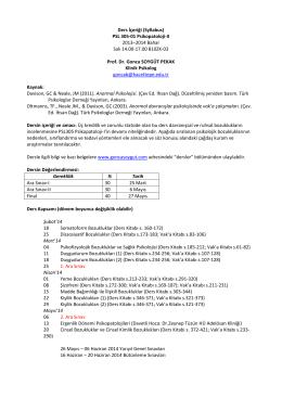 Ders İçeriği (Syllabus) PSL 305-01 Psikopatoloji