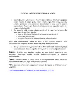 ELEKTRİK LABORATUVARI I TASARIM DENEYİ Elektrik Devreleri