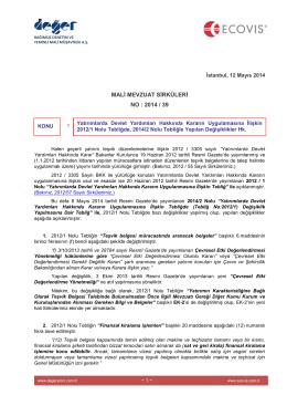 2014-39 Yat Devlet Yard Hk Kararın Uyg İlişkin 2012-1 204