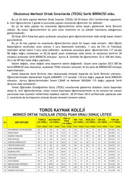 Okulumuz Merkezi Ortak Sınavlarda (TEOG)