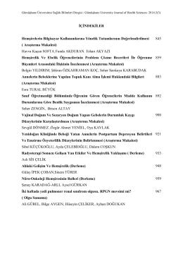 İçindekiler - Sağlık Bilimleri Dergisi