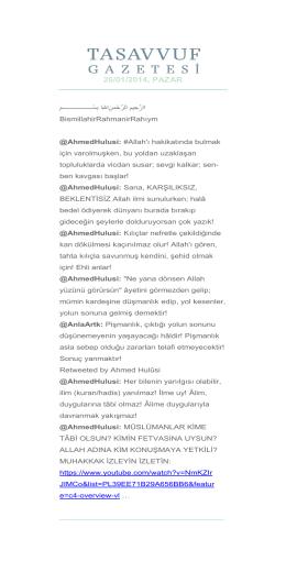 26/01/2014, PAZAR - Sufizm ve İnsan