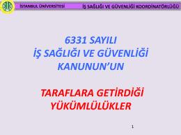 PowerPoint Sunusu - İstanbul Üniversitesi | İş Sağlığı ve Güvenliği