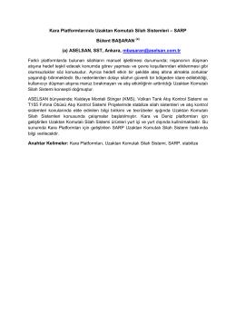 Kara Platformlarında Uzaktan Komutalı Silah Sistemleri – SARP
