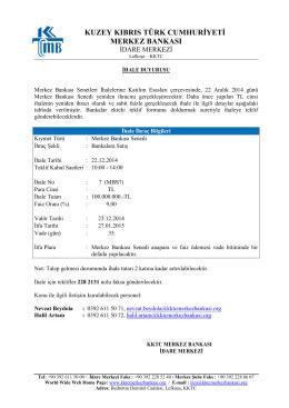 22 Aralık 2014 Tarihinde Yapılacak Olan Merkez Bankası Senedi