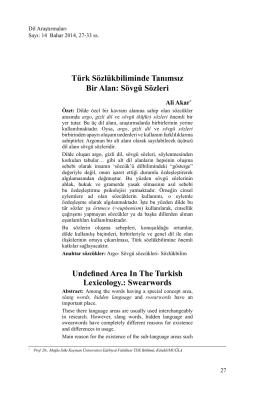 Türk Sözlükbiliminde Tanımsız Bir Alan: Sövgü