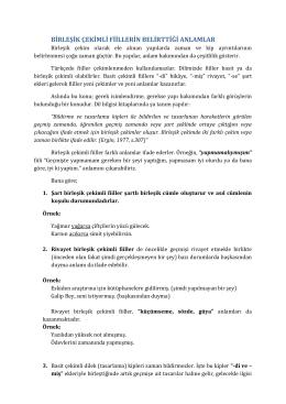 Birleşik Çekimli Fillerin Belirttiği Anlam özelliklerini