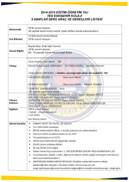 2014-2015 eğitim-öğretim yılı ted eskişehir koleji 5.sınıflar ders araç