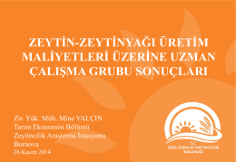 2. Zeytin-Zeytinyağı Maliyetleri Araştırma Çalışma Grup Toplantısı