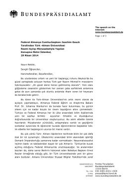 Alman Üniversitesi Resmi Açılışı Münasebetiyle Yapılan