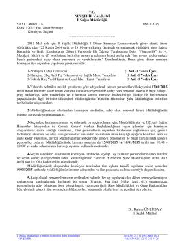 Döner Sermaye Komisyon Seçimi Yazısı
