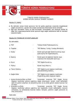 Sağlık Talimatı - Türkiye Kürek Federasyonu