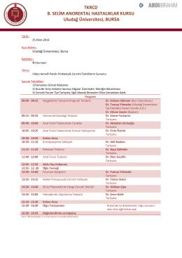 8.Selim Anorektal Hastalıklar Kursu Bilimsel Programı
