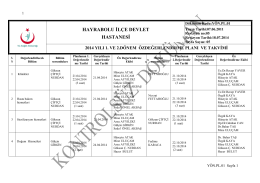 Öz Değerlendirme Planı - Hayrabolu Devlet Hastanesi