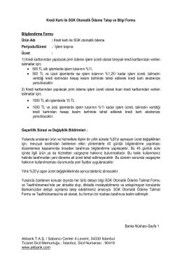 Kredi Kartı ile SGK Otomatik Ödeme Talep ve Bilgi Formu