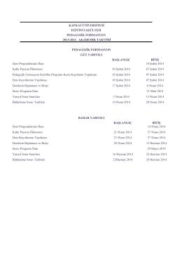 kafkas üniversitesi eğitim fakültesi pedagojik formasyon 2013