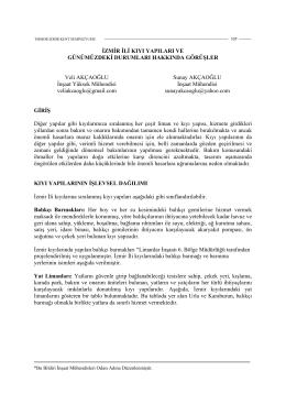 İzmir İli Kıyı Yapıları ve Günümüzdeki Durumları Hakkında Görüşler