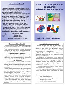 eğitsel çalışmalar - Urla Psikoterapi Merkezi