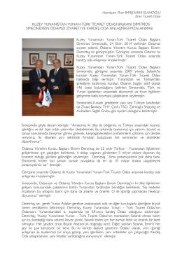kuzey yunanistan yunan-türk ticaret odası başkanı dimitrios